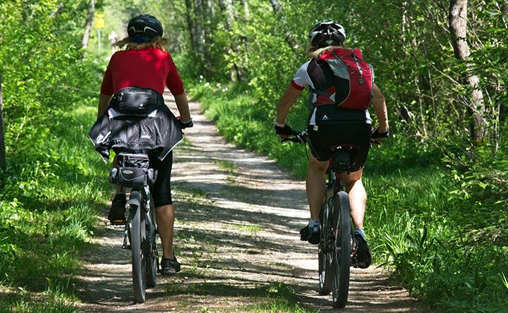 Två personer som cyklar i skogen.