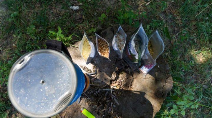 En bild ovanifrån på 5 olika typer av frystorkad mat ute i naturen.