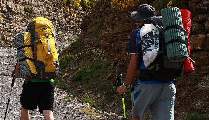 Två vandrare som går upp för en backa med mycket packning på ryggen.