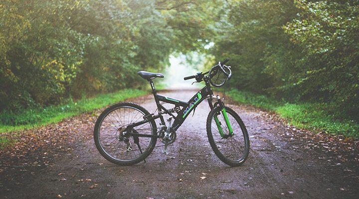 En mountainbike som är grön och svart som står på en skogsväg.