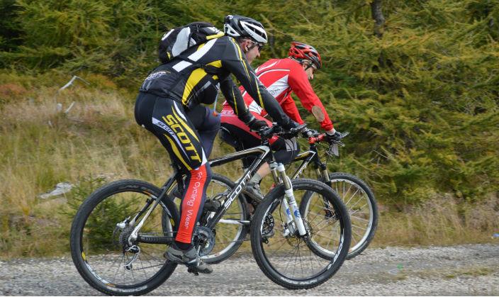 Två mountainbikecyklister som cyklar på ett spår vid skogen.