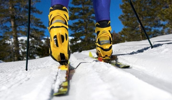 Ett par längdskidor med längdpjäxor på i skidspåret.