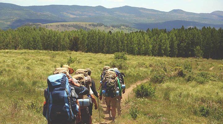 En grupp personer som vandrar ute på ett fält.