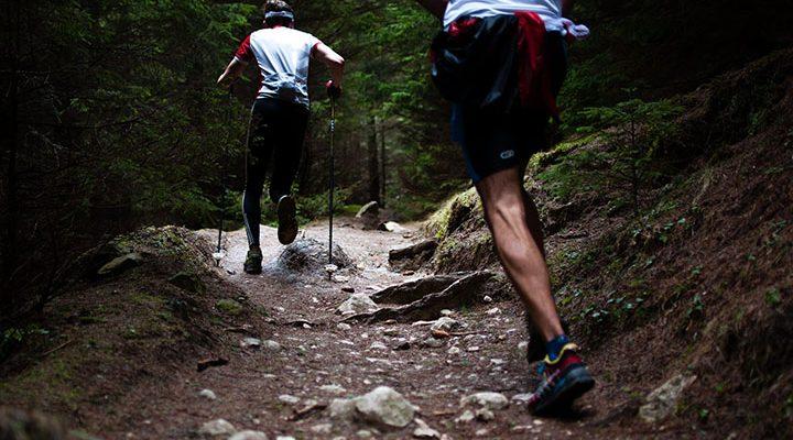 Två personer som tränar med stavar i skogen.